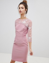 Little Mistress Embroidered Bodycon Dress - Pink