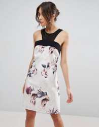 Little Mistress Floral A Line Dress With Sheer Insert - Multi