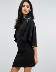 Little Mistress Flutter Sleeve High Neck Dress - Black