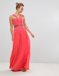 Little Mistress Halterneck Maxi Dress With Embellished Waist - Pink
