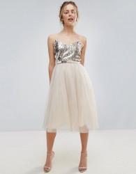 Little Mistress Heavily Embellished Prom Dress - Cream