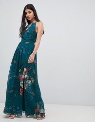 Little Mistress high neck maxi dress in floral print - Multi