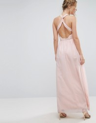 Little Mistress High Neck Maxi Dress with Open Back - Multi