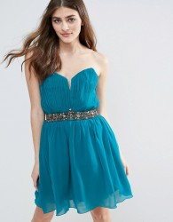Little Mistress Jewel Waist Mini Dress - Green