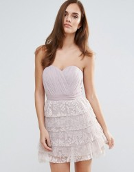 Little Mistress Lace Bandeau Mini Prom Dress - Pink