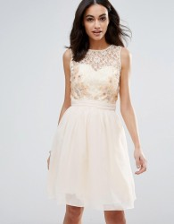 Little Mistress Lace Beaded Prom Dress - White