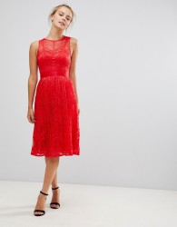 Little Mistress Lace Bridesmaid Midi Dress - Red