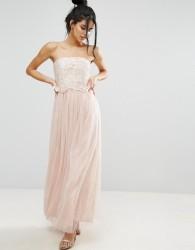 Little Mistress Lace Overlay Bandeau Dress - Cream