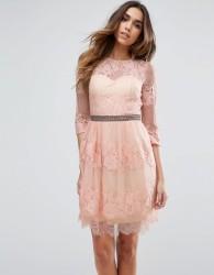Little Mistress Lace Overlay Mini Dress - Pink