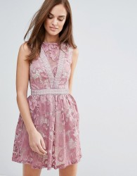 Little Mistress Lace Panel Mini Dress - Pink