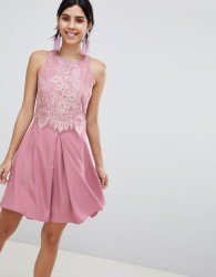 Little Mistress Lace Skater Dress - Pink