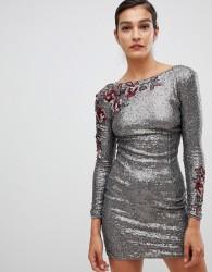 Little Mistress long sleeve all over sequin dress - Brown