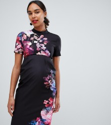 Little Mistress Maternity 2 in 1 pencil dress in floral print - Multi