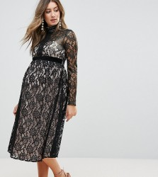 Little Mistress Maternity Allover Cutwork Lace Midi Dress - Black