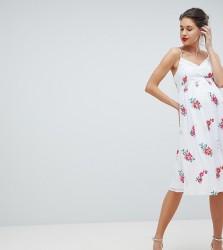 Little Mistress Maternity Full Skater Dress In Rose Embroidery - Multi