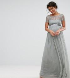 Little Mistress Maternity Lace Bodice Maxi Dress - Grey