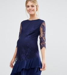 Little Mistress Maternity Long Sleeve Lace Shift Dress With Frill Hem - Navy