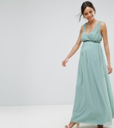 Little Mistress Maternity Maxi Dress With Embellished Waist - Green