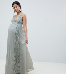 Little Mistress Maternity maxi dress with lace inserts - Green