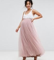 Little Mistress Maternity Maxi Tulle Prom Skirt - Pink