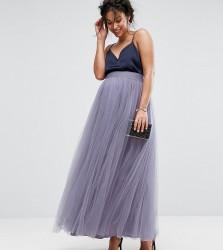 Little Mistress Maternity Maxi Tulle Prom Skirt - Purple