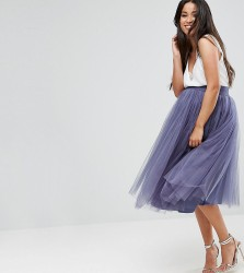 Little Mistress Maternity Midi Tulle Skirt - Grey