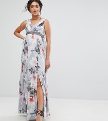 Little Mistress Maternity Plunge Front Maxi Dress In Floral - Multi