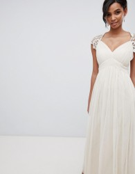 Little Mistress Maxi Dress With Lace Back - Cream