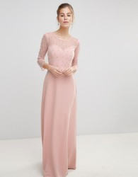 Little Mistress Maxi Dress With Sheer Mesh And Pearl Overlay - Pink