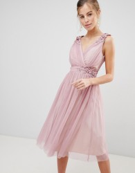 Little Mistress Mesh Prom Dress With Floral Applique And Pearl Trim - Pink