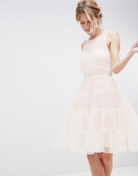 Little Mistress Mesh Prom Dress With Tiered Skirt - Pink