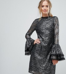 Little Mistress Metallic Cutwork Lace Swing Dress With Fluted Sleeve Detail - Silver