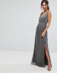 Little Mistress Metallic Jersey Maxi Dress With Wrap Detail - Silver