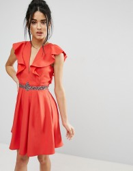 Little Mistress Mini Skater Dress With Plunge And Flutter Sleeve - Red
