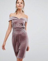 Little Mistress Off Shoulder Midi Pencil Dress in Velvet with Lace trim - Pink