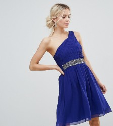 Little Mistress One Shoulder Skater Dress With Embellished Waist Line - Blue