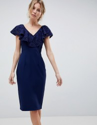 Little Mistress Pencil Dress With Lace Inserts - Navy