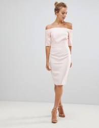 Little Mistress Pencil Dress With Lace Sleeves - Beige
