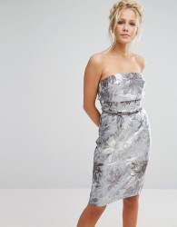 Little Mistress Pencil Dress With Overlay In Metallic Jacquard - Grey