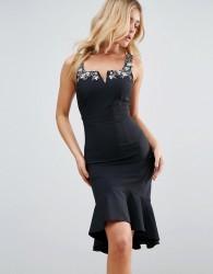Little Mistress Peplem Midi Dress - Black
