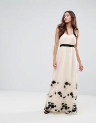 Little Mistress Petal Applique Maxi Dress - Beige