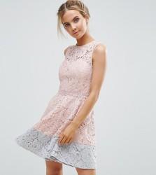Little Mistress Petite Allover Lace Mini Prom Skater Dress With Contrast Hem - Pink