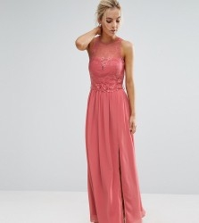 Little Mistress Petite Allover Lace Top Maxi Dress With Applique Belt Detail - Pink