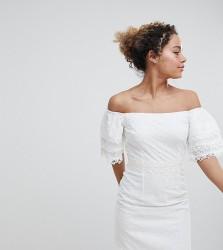 Little Mistress petite bardot allover broderie mini shift dress in white - White