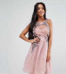 Little Mistress Petite Chiffon Skater Dress With Embellished Detail - Pink