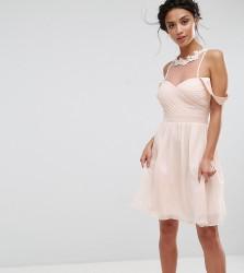 Little Mistress Petite Cold Shoulder Pleated Bust Mini Dress With Lace Applique Neck Detail - Pink