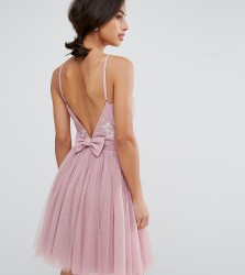 Little Mistress Petite Embellished Top Mini Tulle Prom Dress With Bow Back Detail - Pink