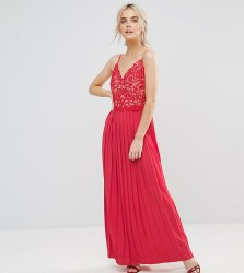 Little Mistress Petite Lace Top Pleated Maxi Dress - Red