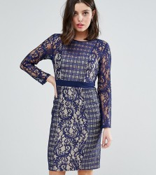 Little Mistress Petite Long Sleeve Contrast Lace Shift Dress - Navy