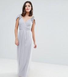 Little Mistress Petite Off Shoulder Maxi Dress With Embellished Detail - Grey